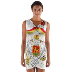 Coat Of Arms Of Kingdom Of Montenegro, 1910 1918 Wrap Front Bodycon Dress