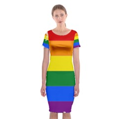 Lgbt Flag Map Of Washington Classic Short Sleeve Midi Dress