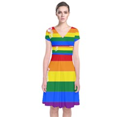 Lgbt Flag Map Of Washington Short Sleeve Front Wrap Dress