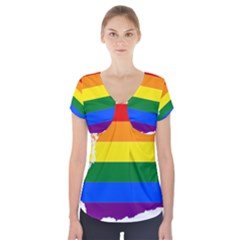 Lgbt Flag Map Of Washington Short Sleeve Front Detail Top