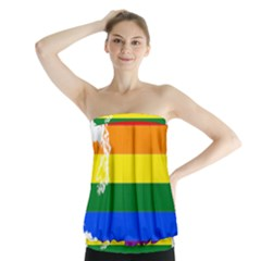Lgbt Flag Map Of Washington Strapless Top