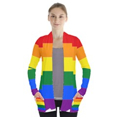 Lgbt Flag Map Of Washington Women s Open Front Pockets Cardigan(p194)