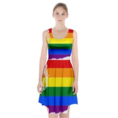 Lgbt Flag Map Of Washington Racerback Midi Dress