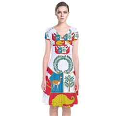 Great Seal Of Peru  Short Sleeve Front Wrap Dress