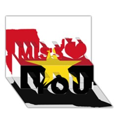 Mpla Flag Map Of Angola  Miss You 3D Greeting Card (7x5)