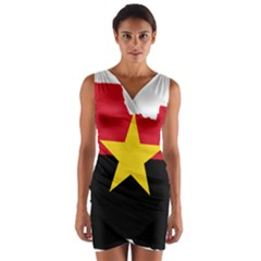 Mpla Flag Map Of Angola  Wrap Front Bodycon Dress