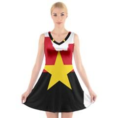 Mpla Flag Map Of Angola  V-Neck Sleeveless Skater Dress