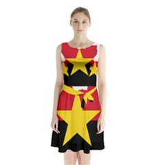 Mpla Flag Map Of Angola  Sleeveless Waist Tie Dress