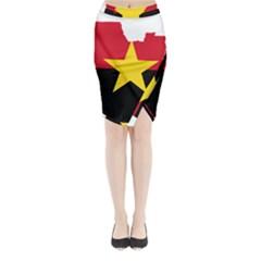 Mpla Flag Map Of Angola  Midi Wrap Pencil Skirt