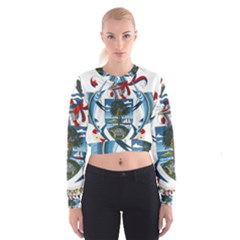 Coat Of Arms Of The Seychelles Women s Cropped Sweatshirt