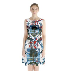 Coat Of Arms Of The Seychelles Sleeveless Waist Tie Dress