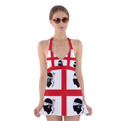 Traditional Flag Of Sardinia  Halter Swimsuit Dress