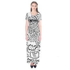 National Seal Of Mexico Short Sleeve Maxi Dress