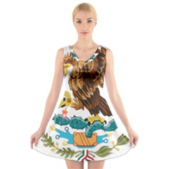 Coat Of Arms Of Mexico  V-Neck Sleeveless Skater Dress