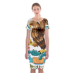 Coat Of Arms Of Mexico  Classic Short Sleeve Midi Dress
