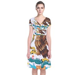Coat Of Arms Of Mexico  Short Sleeve Front Wrap Dress