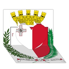 Coat Of Arms Of Malta  Heart 3D Greeting Card (7x5)