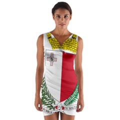 Coat Of Arms Of Malta  Wrap Front Bodycon Dress