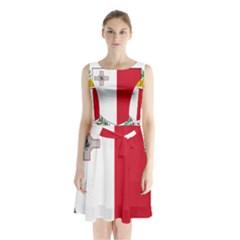 Coat Of Arms Of Malta  Sleeveless Waist Tie Dress