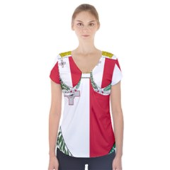 Coat Of Arms Of Malta  Short Sleeve Front Detail Top
