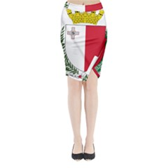 Coat Of Arms Of Malta  Midi Wrap Pencil Skirt