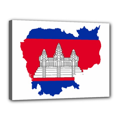 Flag Map Of Cambodia Canvas 16  x 12