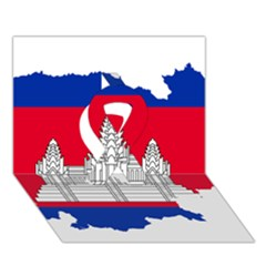 Flag Map Of Cambodia Ribbon 3D Greeting Card (7x5)