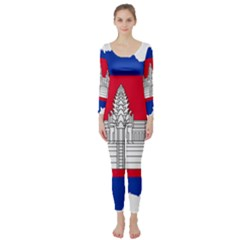 Flag Map Of Cambodia Long Sleeve Catsuit