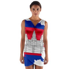 Flag Map Of Cambodia Wrap Front Bodycon Dress