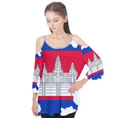Flag Map Of Cambodia Flutter Tees