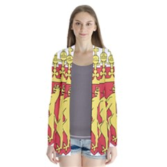 Coat Of Arms Of Norway  Drape Collar Cardigan