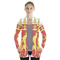 Coat Of Arms Of Norway  Women s Open Front Pockets Cardigan(P194)