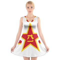 Roundel Of The People s Liberation Army Air Force V-Neck Sleeveless Skater Dress