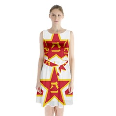 Roundel Of The People s Liberation Army Air Force Sleeveless Waist Tie Dress