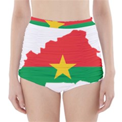 Flag Map Of Burkina Faso  High-Waisted Bikini Bottoms