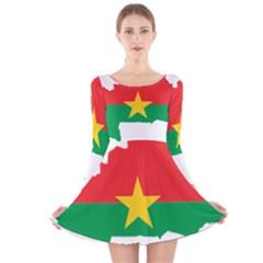 Flag Map Of Burkina Faso  Long Sleeve Velvet Skater Dress