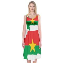 Flag Map Of Burkina Faso  Midi Sleeveless Dress