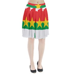 Flag Map Of Burkina Faso  Pleated Skirt