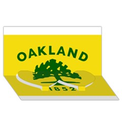 Flag Of Oakland, California Twin Heart Bottom 3D Greeting Card (8x4)