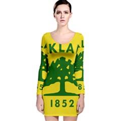 Flag Of Oakland, California Long Sleeve Velvet Bodycon Dress
