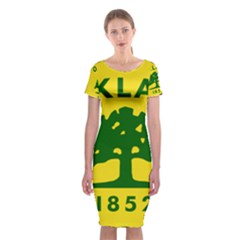 Flag Of Oakland, California Classic Short Sleeve Midi Dress