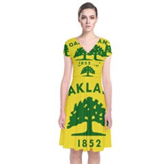 Flag Of Oakland, California Short Sleeve Front Wrap Dress