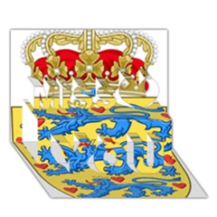 National Coat Of Arms Of Denmark Miss You 3D Greeting Card (7x5)