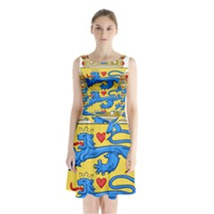 National Coat Of Arms Of Denmark Sleeveless Waist Tie Dress