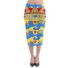 National Coat Of Arms Of Denmark Midi Pencil Skirt
