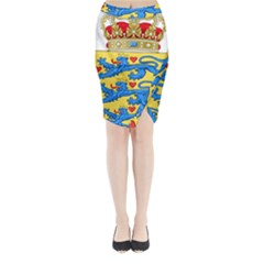National Coat Of Arms Of Denmark Midi Wrap Pencil Skirt