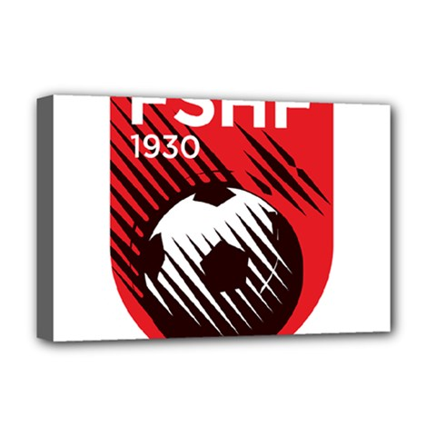 Crest Of The Albanian National Football Team Deluxe Canvas 18  x 12