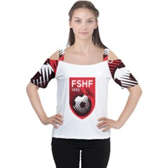 Crest Of The Albanian National Football Team Women s Cutout Shoulder Tee