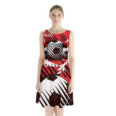 Crest Of The Albanian National Football Team Sleeveless Waist Tie Dress