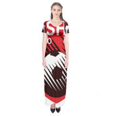 Crest Of The Albanian National Football Team Short Sleeve Maxi Dress
